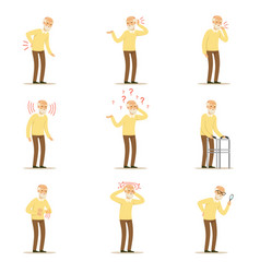 elderly man diseases pain problem in back neck vector image vector image