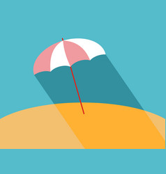 flat beach umbrella with long shadow vector image vector image