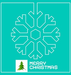Retro Christmas Card with Snowflake Outline and vector image vector image