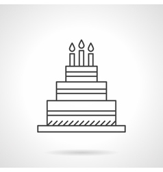 Birthday cake flat line design icon vector image