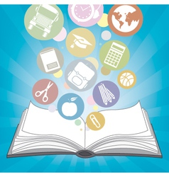 book and icons school vector image vector image