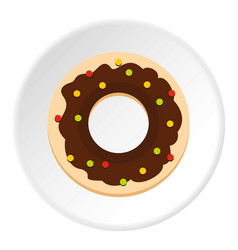 chocolate donut icon circle vector image vector image