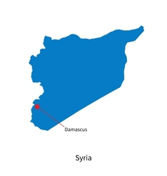 Detailed map of Syria and capital city Damascus vector image