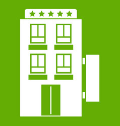 five star hotel icon green vector image vector image