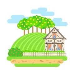 Flat design landscape Village house with field vector image