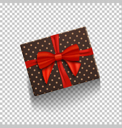 gift box with red ribbon isolated on transparent vector image vector image