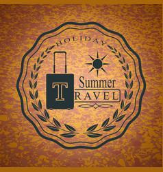 logo with suitcase for summer travel holidays vector image