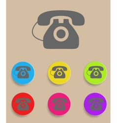 old phone icons with color variations vector image vector image
