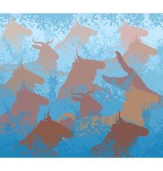 Wilderbeest swimming river vector image vector image