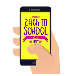 back to school banner on smartphone vector image vector image