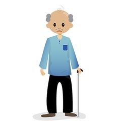 Bald man with walking stick vector image