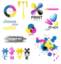 CMYK design elements vector image