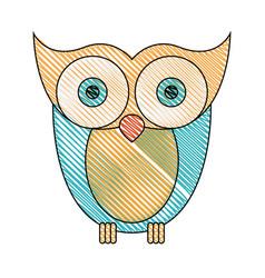 color crayon stripe image of owl bird vector image