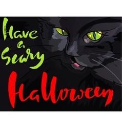 Halloween with black cat Helloween vector image