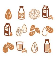 Almonds almond milk icons set vector image vector image