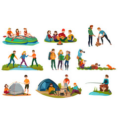 camping people set vector image vector image