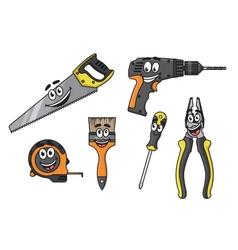 Cartoon diy tools characters vector image vector image