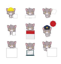 cute gray cat functional poses vector image