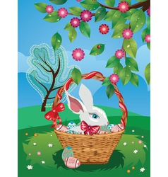 Easter Bunny with Eggs in the Basket2 vector image