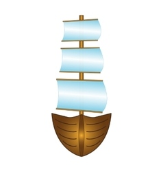 Fishing boat with sails vector image