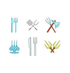 fork icon set cartoon style vector image