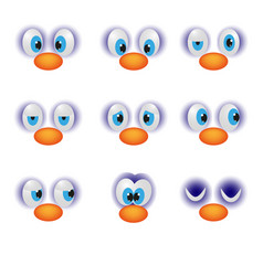 funny cartoon faces with emotions happy eye vector image