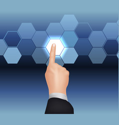 Hand pushing the button vector image