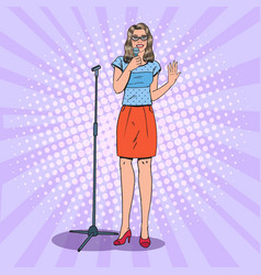 pop art young woman with microphone female singer vector image