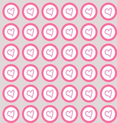 Seamless pattern hearts in circles vector image vector image