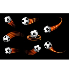 soccer balls or football icon with fire motion vector image vector image