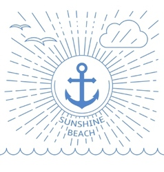 Summer beach made with outline lines vector image vector image