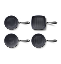 3d empty frying pan set top view isolated vector image