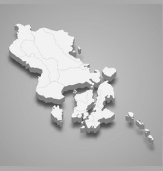 3d isometric map southeast sulawesi vector