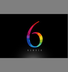 6 number rainbow colored logo company icon design vector