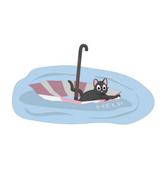 a cat is floating on an umbrella vector image