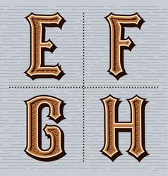 Alphabet western letters vintage design e f g vector