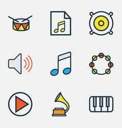 Audio colored outlines set collection of play vector