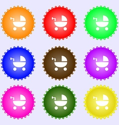 Baby Stroller icon sign Big set of colorful vector image