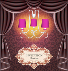 background with curtains and chandelier vector image