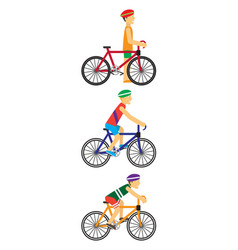 Bicyclists people on bikes vector