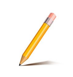 bright cartoon yellow pencil with pink eraser vector image