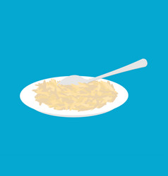 brown rice porridge in plate and spoon isolated vector image