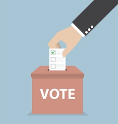 businessman hand putting voting paper in ballo vector image