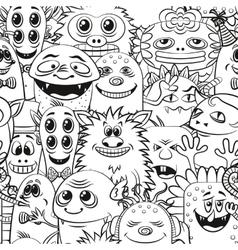 Cartoon Contour Monsters Seamless vector image