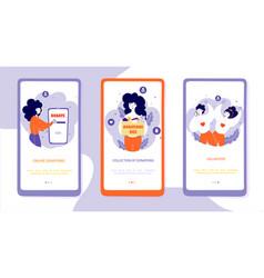 charitable organization onboarding mobile app vector image