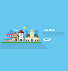 city street in sunny day flat banner vector image