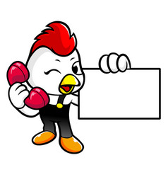 Cock character is call and holding a business vector