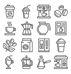 coffee icons set on white background line style vector image