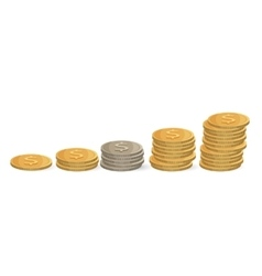 Coins ascending order isolated on white Silver vector image