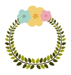 Colorful arch of leaves with pastel flowers vector